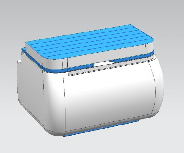 VW Campervan Buddy Seat and Coolbox Closed