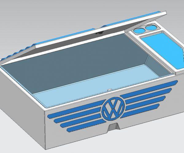 VW Campervan Rear Storage Box open Assembly